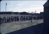High school registration line, Heart Mountain Relocation Center, Wyoming, 1943