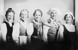 Ellen Lund, Mary Westin, Frida Ehrenstam, Mrs D. Nordquist, and Anna Osbeck in traditional...