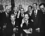 Group of senators including Warren G. Magnuson who arranged the cloture vote on anti-Civil Rights...
