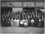 Members outside Valhalla Temple, International Organization of Good Templars, probably Tacoma, ca....