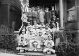 Asahi baseball team at their clubhouse at 12th Ave. and Yesler Way, Seattle, n.d.