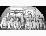Mikado baseball team with Northwest Japanese Baseball Tournament trophy, Seattle, 1911