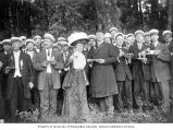 Svea Male Chorus members and guests at convention picnic, Fortuna Park, Mercer Island, 1909