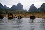 Boats along the Li River, China, February 1986