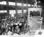 Crowd watching manufacturing process at Isaacson Iron Works, Seattle, ca. 1944