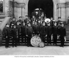 Svea Band outside building, Tacoma, n.d.