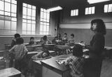 Children and teacher in classroom, Chinatown (International District) in Seattle, 1984