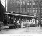 Streetcar carrying Scandia Club members during Alaska Yukon Pacific Exposition, Seattle, 1909