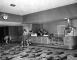 Crest Theater lobby with snack bar, ca. 1950