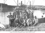 Filipino cannery workers at harbor, Alitak, Kodiak Island, 1937