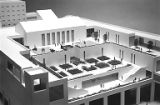 Architectural model of an outdoor courtyard at the proposed Seattle Art Museum at Westlake Mall,...