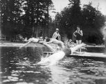 YMCA boy's camp on Orcas island showing swimmers diving from pier, 1910