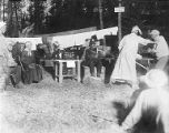 YMCA boy's camp on Orcas island showing group of young men performing in black face, 1910