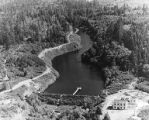 Aerial view of main water supply at Eden Creek and Butterworth Dam, circa 1940s