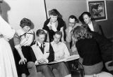 Vancouver Ad Club members looking at the Seattle Ad Club 1953 scrap book, Joint Meeting with...
