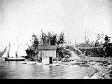 Freeland Colony, Colony Store and schooner Bessie Brook, ca. 1910