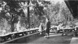 Group at picnic tables, Seward Park, Seattle, circa 1940-1941