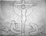 Center relief panel depicting the Crucifixion, Trinity Evangelical Lutheran Church, 1200 10th Ave....