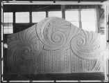 Clay model of panel in studio showing swirl and zig zag patterns, Charles F. Berg Building, 615...