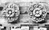 Clay models of two flower medallions, Washington Athletic Club, Seattle, circa 1930