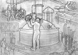 Art of brewing panel shows the fermentation tank and bottling operations, Olympia Brewing Company,...