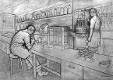 Art of brewing panel shows the scientific lab, Olympia Brewing Company, circa 1946