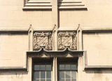Cast stone UW panels over windows, Gerberding Hall, University of Washington, Seattle, circa 1990s