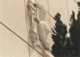 Detail of classics panel mounted on building, Bishop Blanchet High School, 8200 Wallingford Ave....