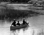 Three boys on a row boat in Sleeping Bear Dunes National Lakeshore, Michigan, 1967