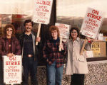 Union members Sue, Dan Jackson, Shirley Mitchell, and Mona Ihly on the picket line at Lucky Stores...