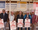 Union members Bill Silans, Len Schwab, Gus Casini, Lynn Denniston and Bob Comstock on the picket...