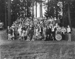 People in a park at Dan's Meats company picnic, 1937