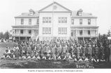 Students and teachers in front of girl's dormitory, Tulalip Indian School, Tulalip Indian...