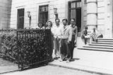 Hirabayashi with friends outside the International House, New York, July 6, 1940
