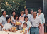 Gordon Hirabayashi with family celebrating a birthday, July 24, 1987