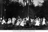 Children playing a form of basketball at the Japanese Language School picnic at Woodland Park,...