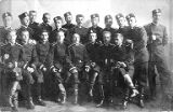 Group of young men in military uniform with Nicholas Kusakovich on the far right, circa 1900s-1910s