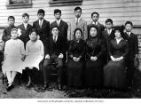 Japanese Language School students posing for class portrait, Seattle, 1915