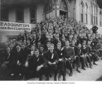 Older Boys Conference attendees on steps of church building, ca. 1917