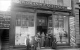 Women posed in front of the Womans Exchange Lunch Room and Employment Bureau, n.d.