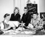 Junior Board officers reading tuberculosis booklets, Pierce County Tuberculosis League program,...