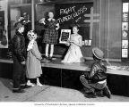 Children viewing anti-tuberculosis window display, Christmas Seals Campaign, Pierce County, 1958