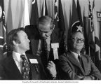 Representative Brock Adams talking with Pennsylvania Governor Milton Shapp and unidentified man at...