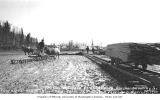 Horses pulling sleds over mud and first rails laid for the Alaska Railroad at Ship Creek, April...