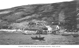 Cod fish station, Northwest Harbor, on the north coast of Little Koniuji Island, ca. 1912