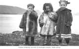 Three Eskimo children dressed in fur parkas, Unalaska, ca. 1912