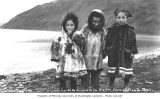 Three Eskimo children in fur parkas, Unalaska, ca. 1912