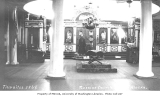 Interior of Russian Orthodox Church, with priest standing in background, Sitka, ca. 1912