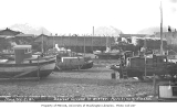 Boats in drydock in winter on baseball grounds, Ketchikan, ca. 1912