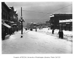 1st Ave. looking north from Lenora St. after the Big Snow of 1916, Denny Regrade neighborhood,...